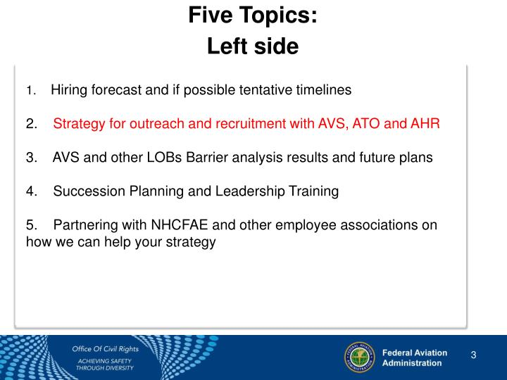 Five Topics: