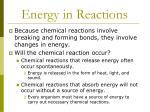 energy in reactions