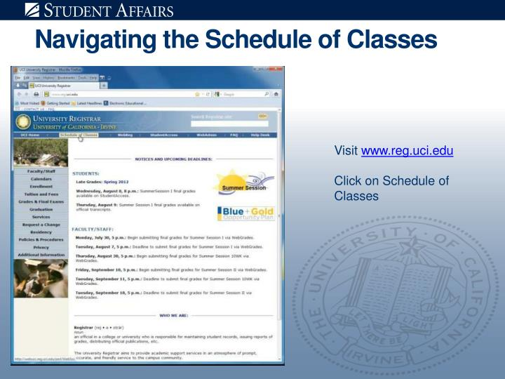 Navigating the schedule of classes