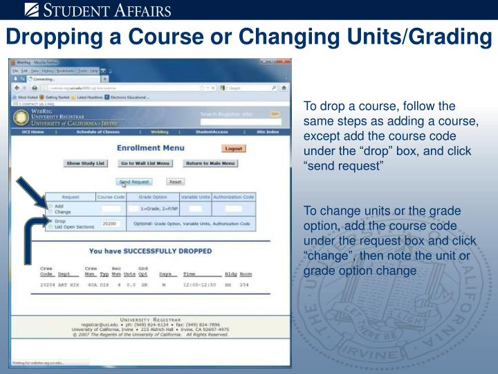 Dropping a Course or Changing Units/Grading