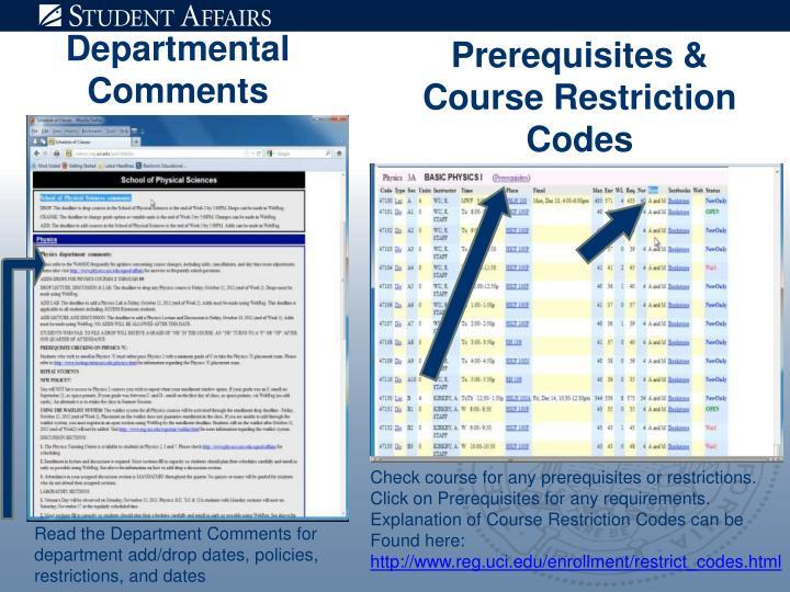 Departmental Comments