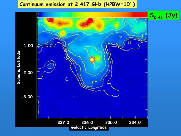 Continuum emission at 2.417 GHz (HPBW=10' )