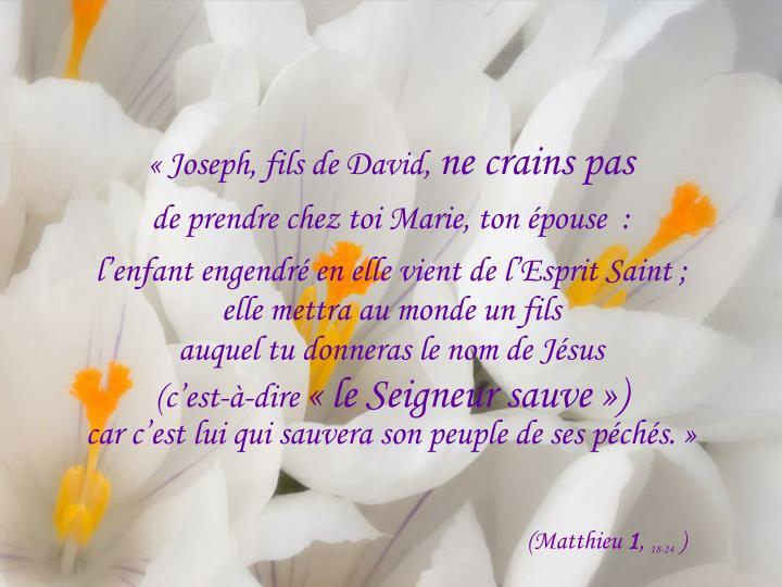 «Joseph, fils de David,