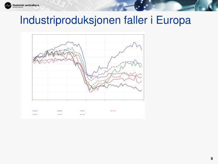 Industriproduksjonen faller i Europa