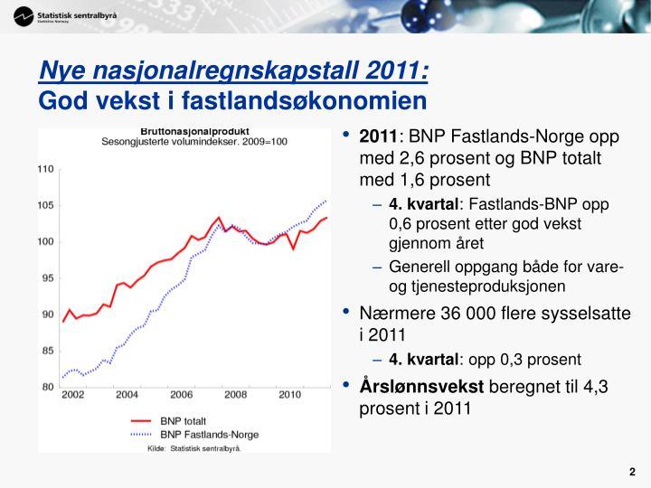 Nye nasjonalregnskapstall 2011 god vekst i fastlands konomien