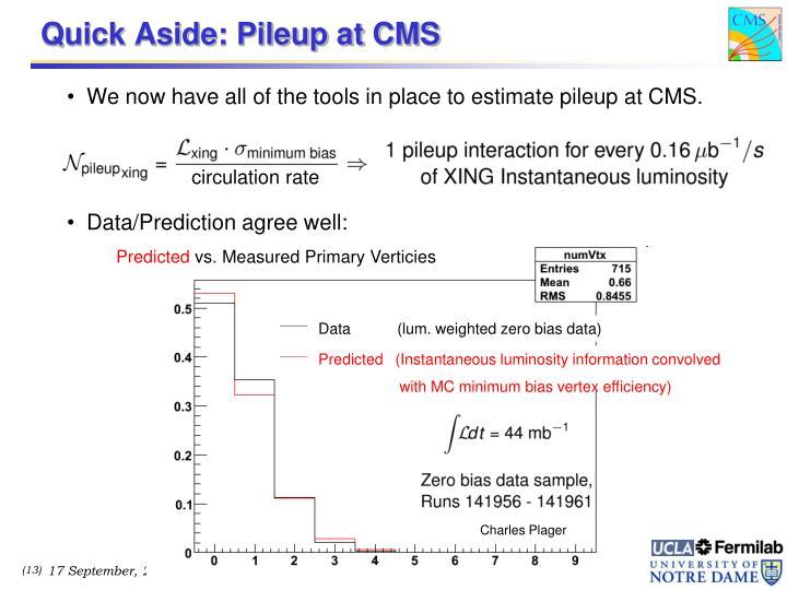 Quick Aside: Pileup at CMS