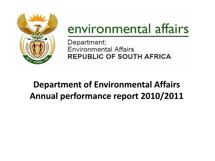 department of environmental affairs annual performance report 2010 2011 n.