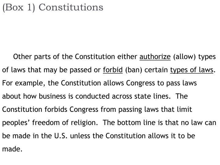 (Box 1) Constitutions