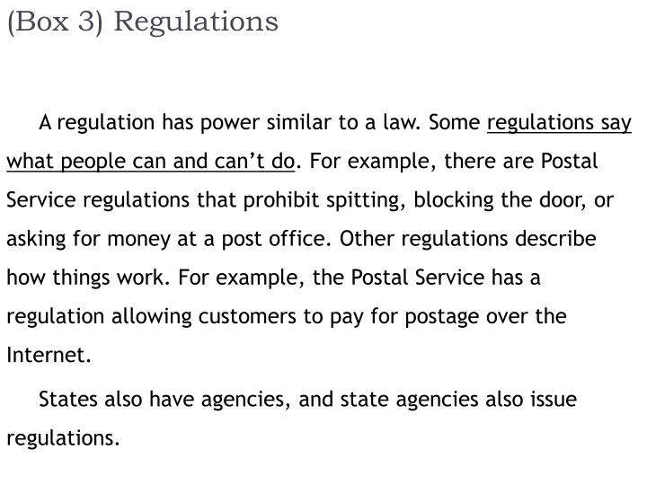 (Box 3) Regulations