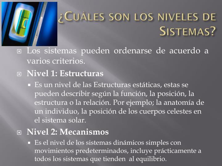 ¿Cuáles son los niveles de Sistemas?