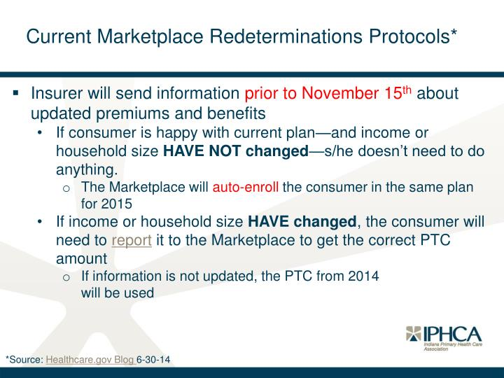Current Marketplace Redeterminations Protocols*