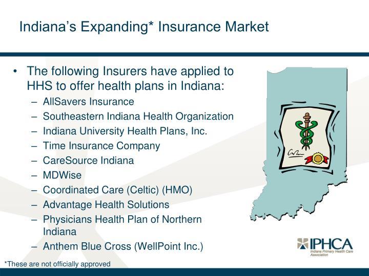 Indiana's Expanding* Insurance Market