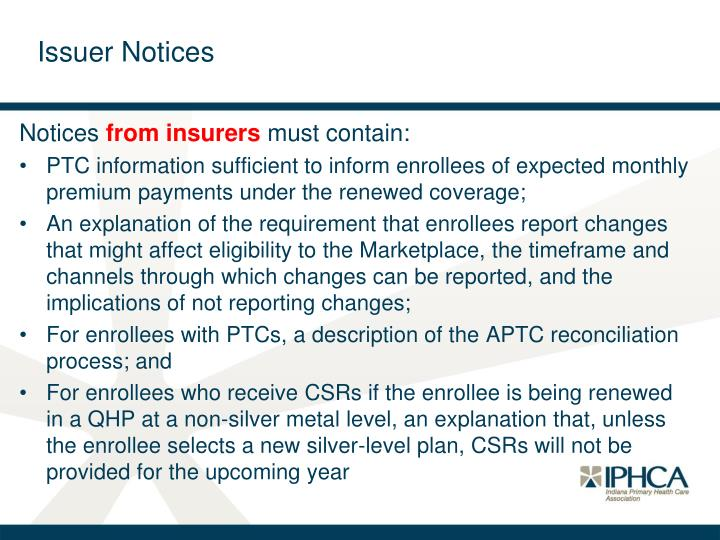 Issuer Notices