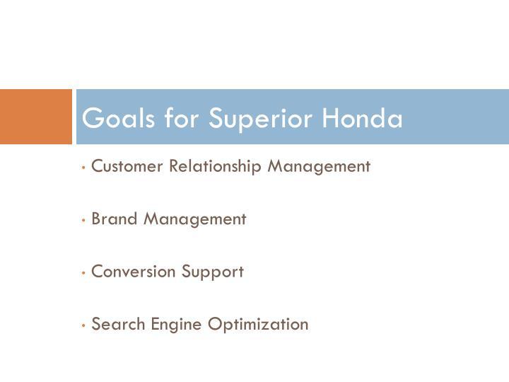 Goals for Superior Honda