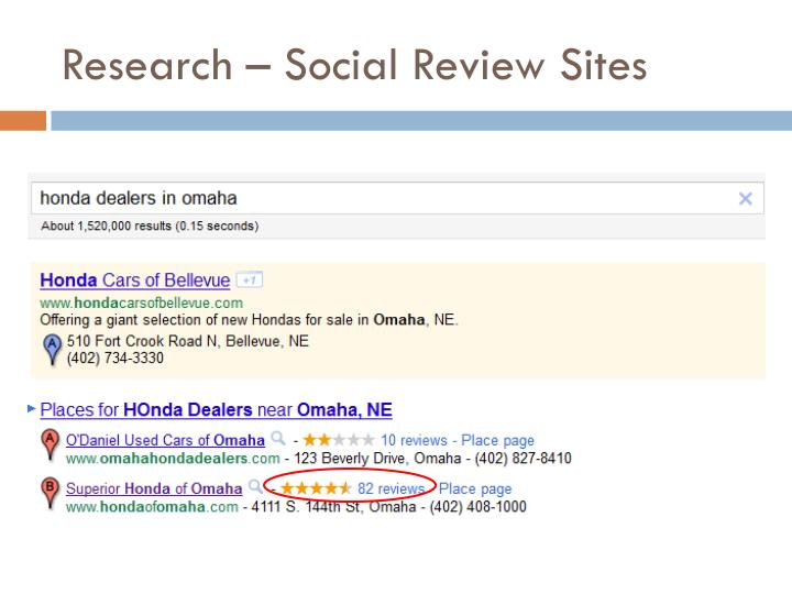 Research social review sites