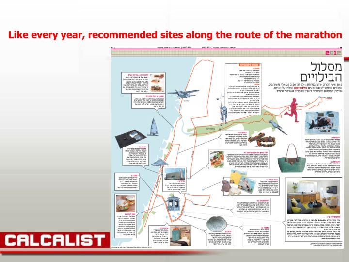 Like every year, recommended sites along the route of the marathon
