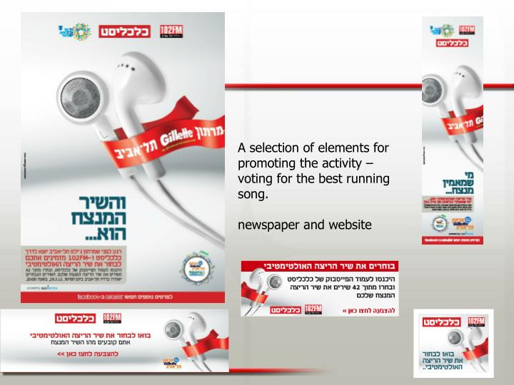 A selection of elements for promoting the activity – voting for the best running song.