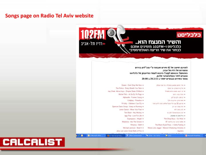 Songs page on Radio Tel Aviv website