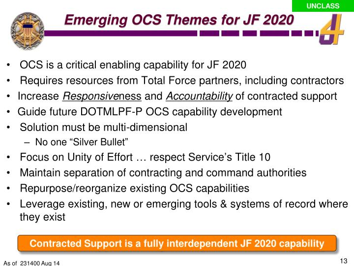Emerging OCS Themes for JF 2020