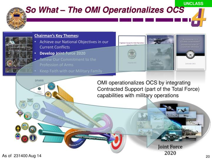 So What – The OMI Operationalizes OCS