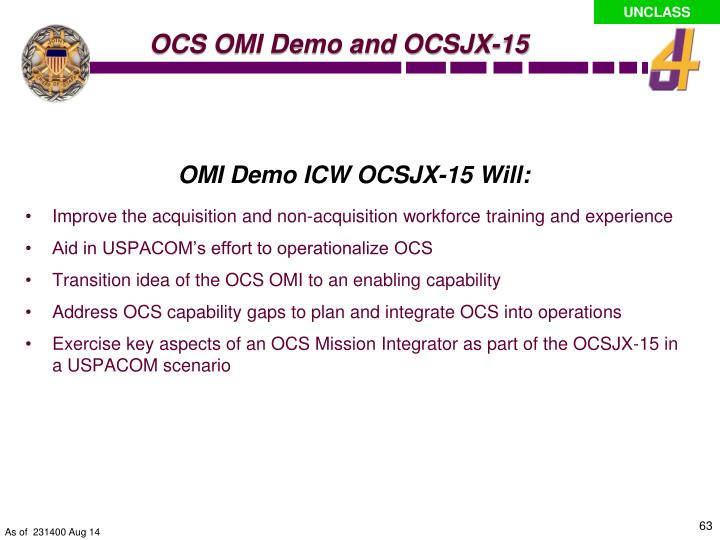 OMI Demo ICW OCSJX-15 Will: