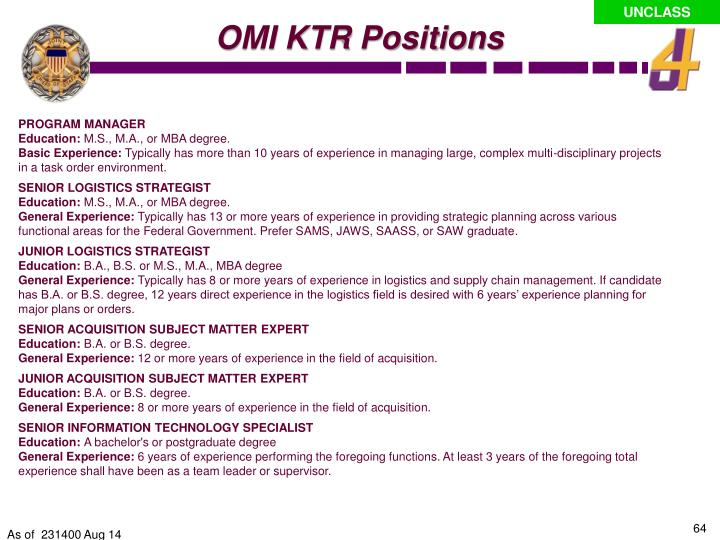 OMI KTR Positions