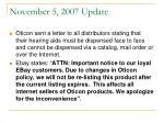 november 5 2007 update