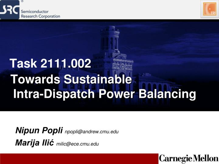 towards sustainable intra dispatch power balancing n.