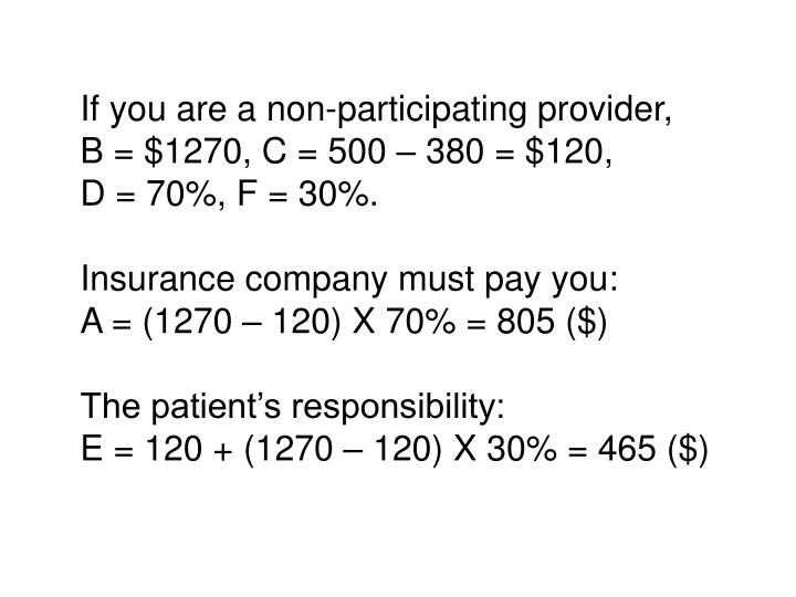 If you are a non-participating provider,