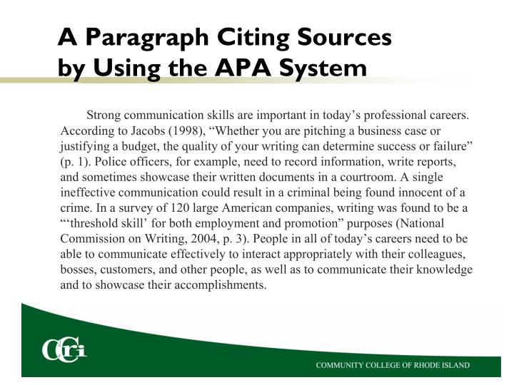 A Paragraph Citing Sources by Using the APA System