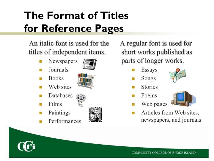 The Format of Titles for Reference Pages