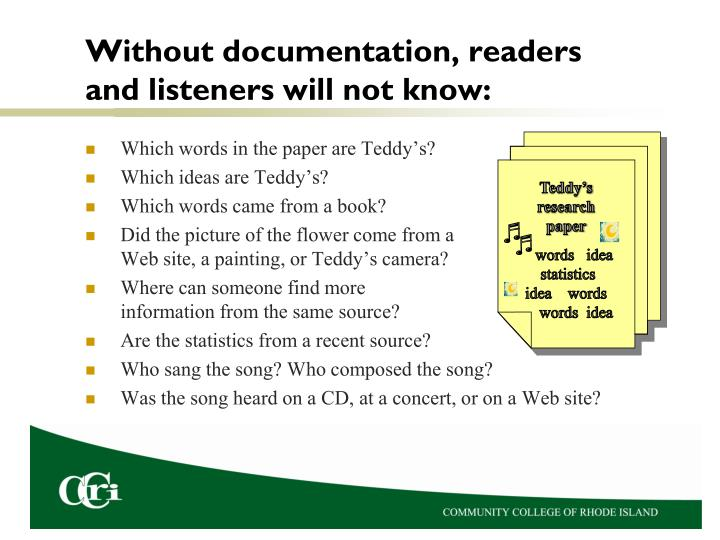 Without documentation readers and listeners will not know
