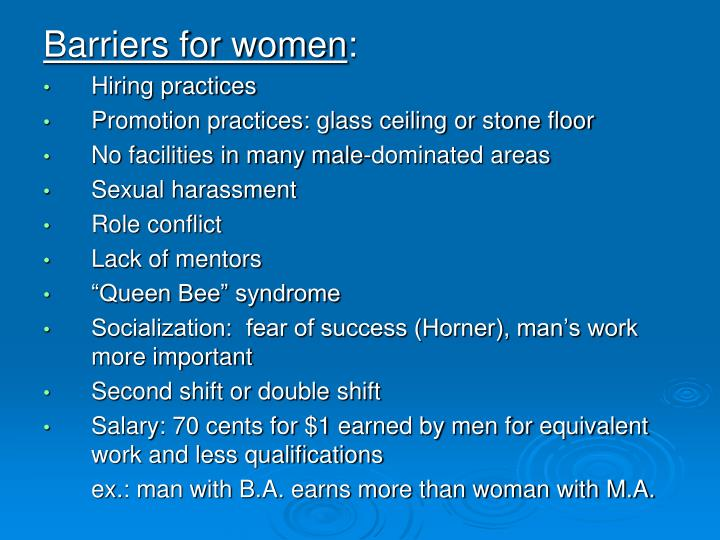 Barriers for women