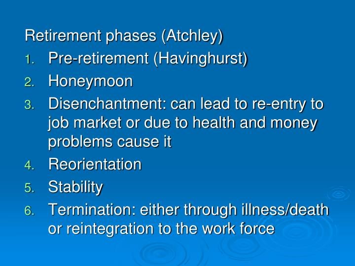 Retirement phases (Atchley)