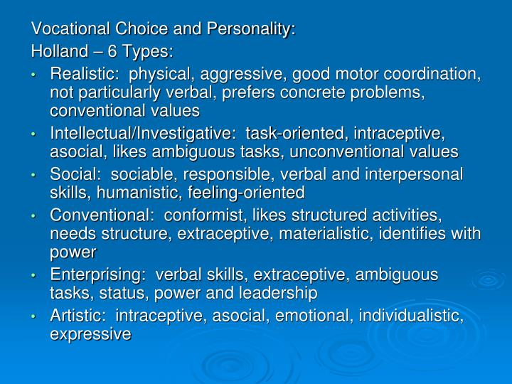 Vocational Choice and Personality:
