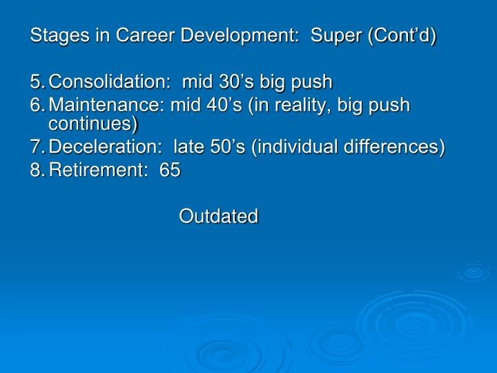 Stages in Career Development:  Super (Cont'd)