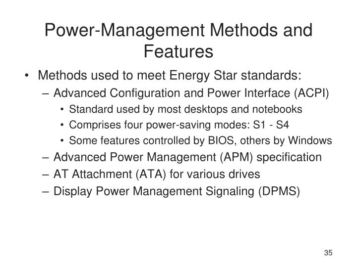 Power-Management Methods and Features