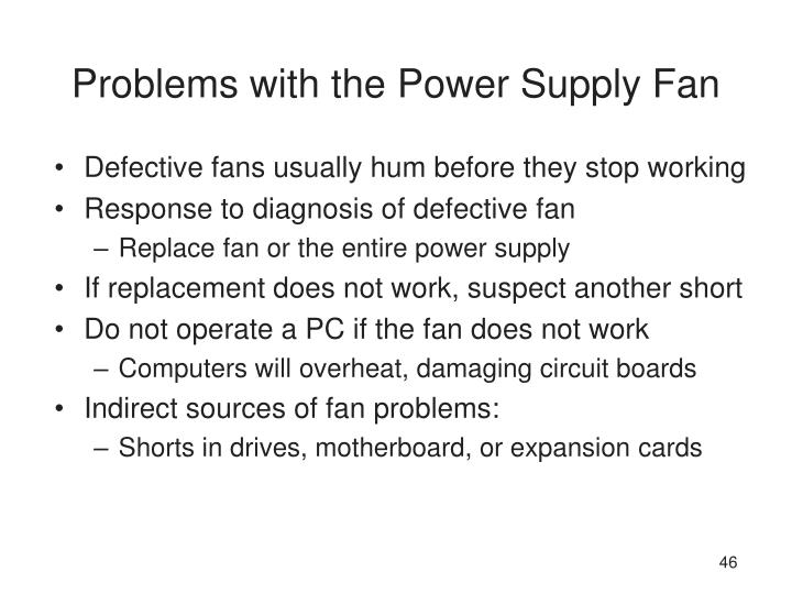 Problems with the Power Supply Fan