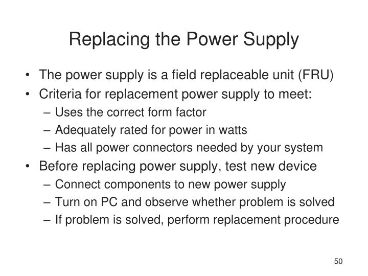 Replacing the Power Supply