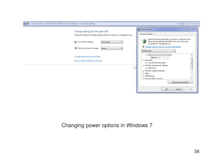 Changing power options in Windows 7