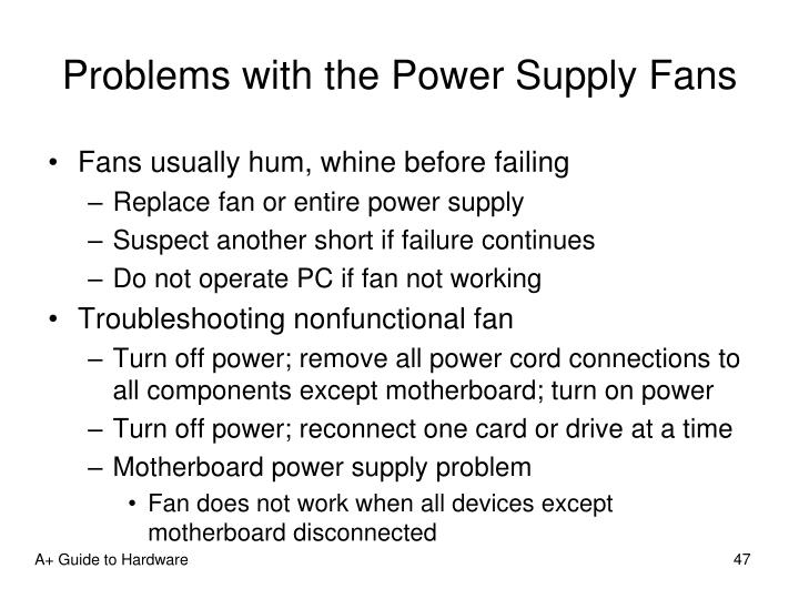 Problems with the Power Supply Fans