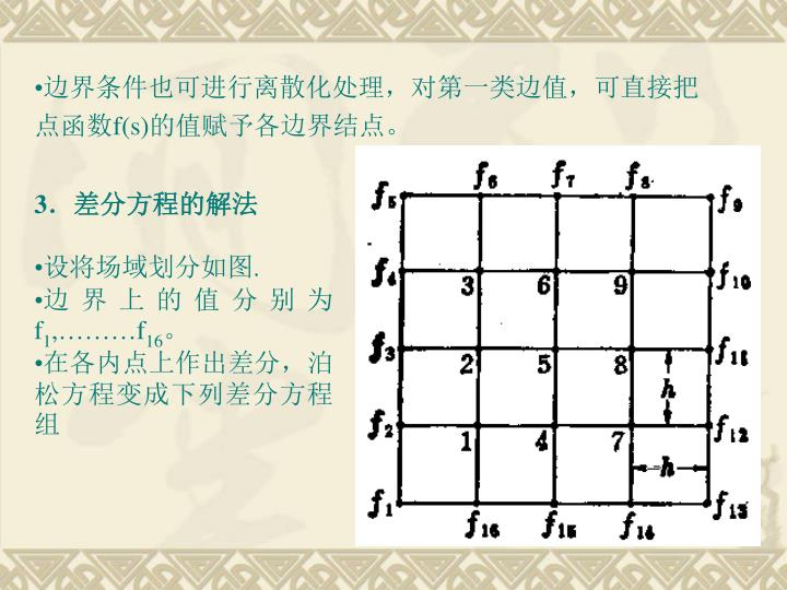 边界条件也可进行离散化处理,对第一类边值,可直接把点函数