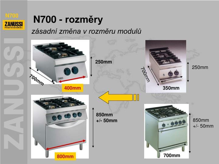 N700 - rozměry