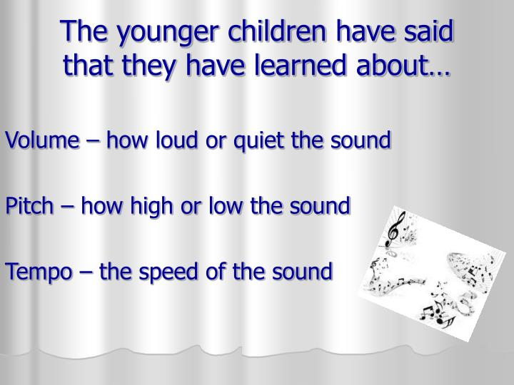 The younger children have said that they have learned about…