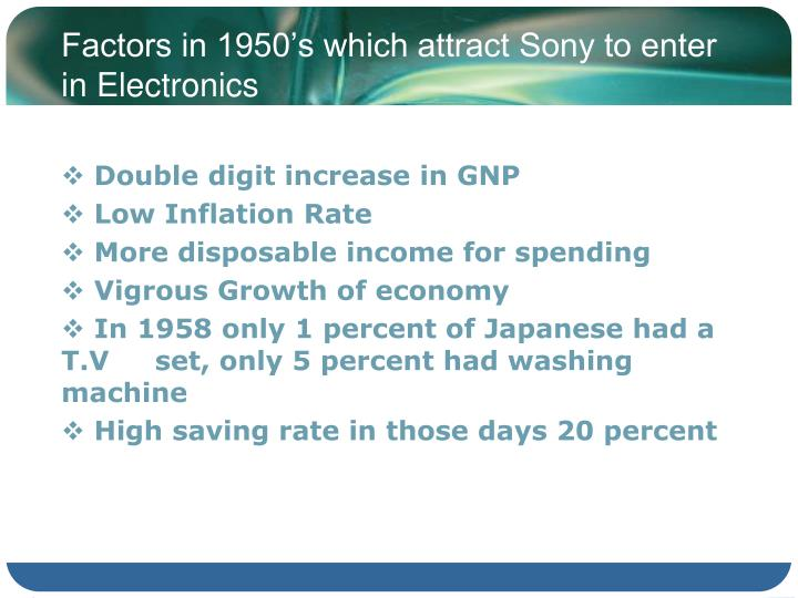 Factors in 1950's which attract Sony to enter in Electronics