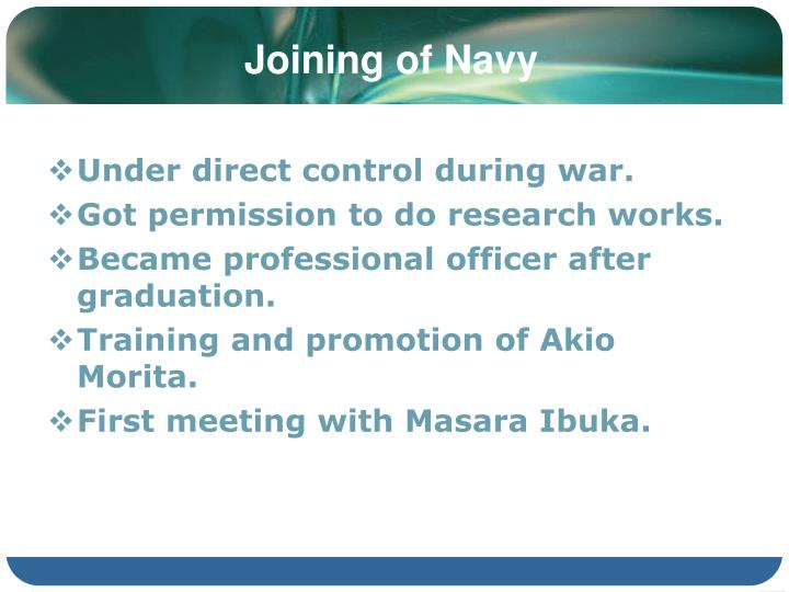 Joining of Navy