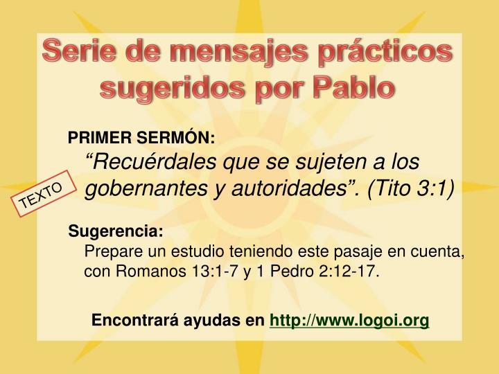 Serie de mensajes prácticos sugeridos por Pablo