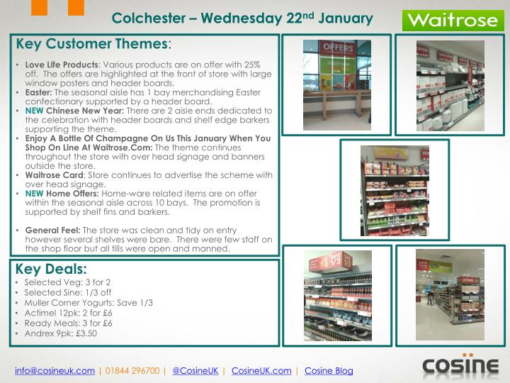 Colchester – Wednesday 22