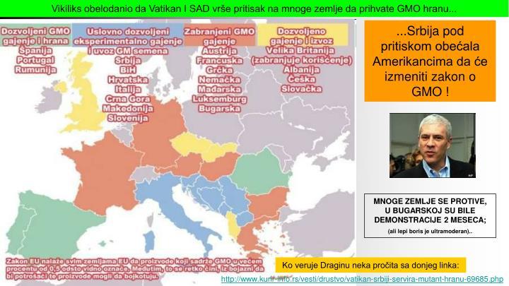 Vikiliks obelodanio da Vatikan I SAD vrše pritisak na mnoge zemlje da prihvate GMO hranu...