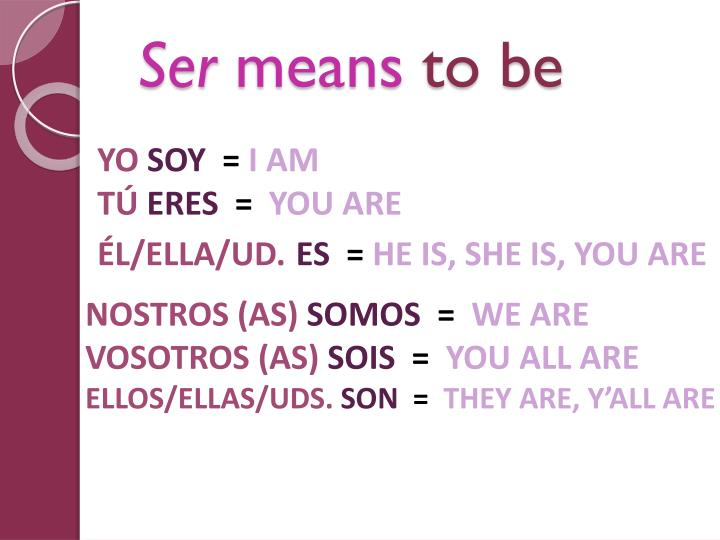 Ser means to be